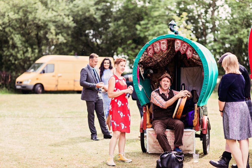 Wagon Caravan Gypsy Storyteller Festival Wedding Mismatched Country Camilla Lucinda Photography