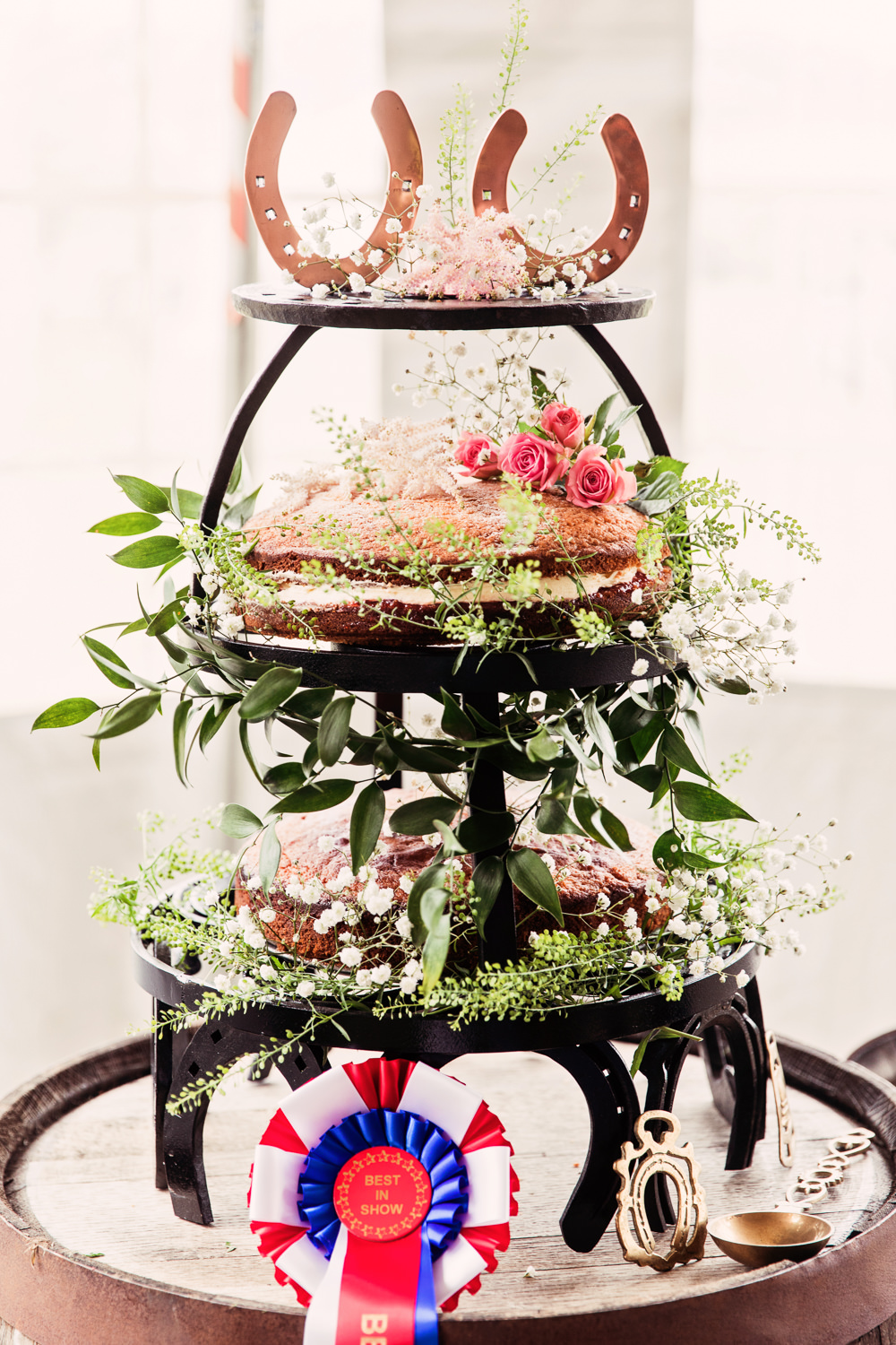 Naked Victoria Sponge Cake Floral Foliage Horse Shoe Stand Festival Wedding Mismatched Country Camilla Lucinda Photography