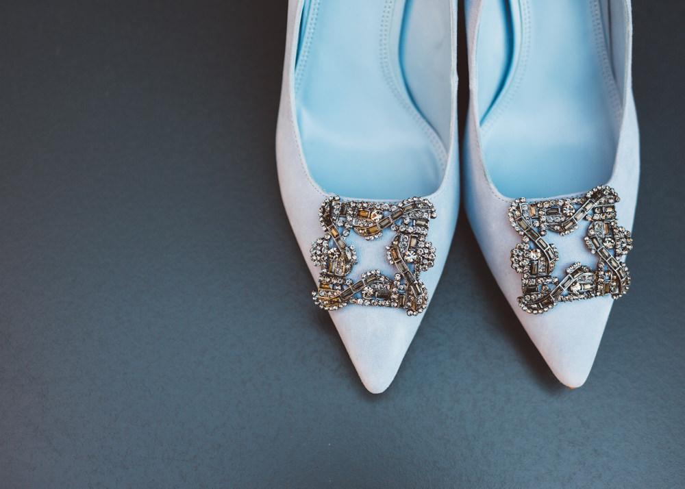 Blue Shoes Pointy Bride Bridal George Rye Wedding Hollie Carlin Photography