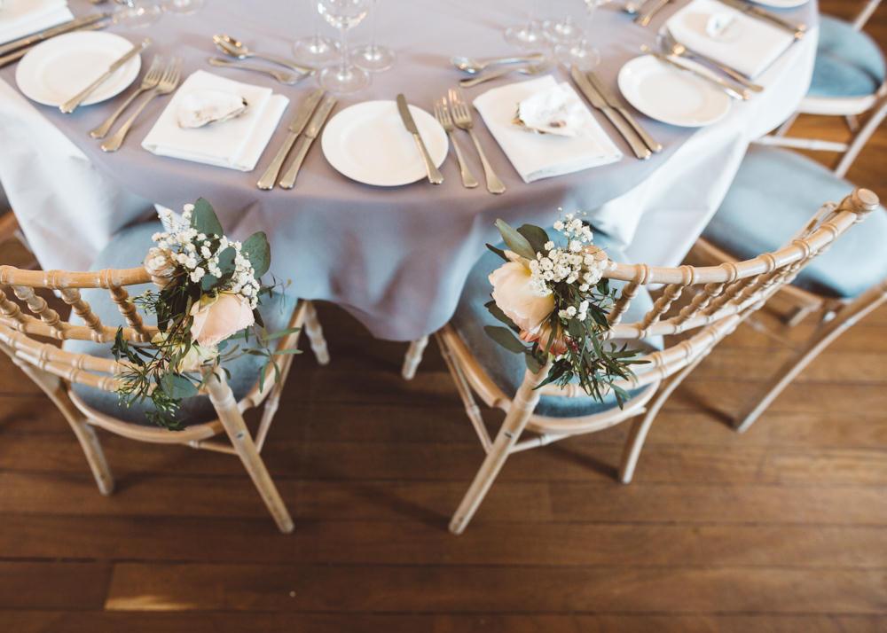 Chair Flowers Rose Greenery George Rye Wedding Hollie Carlin Photography