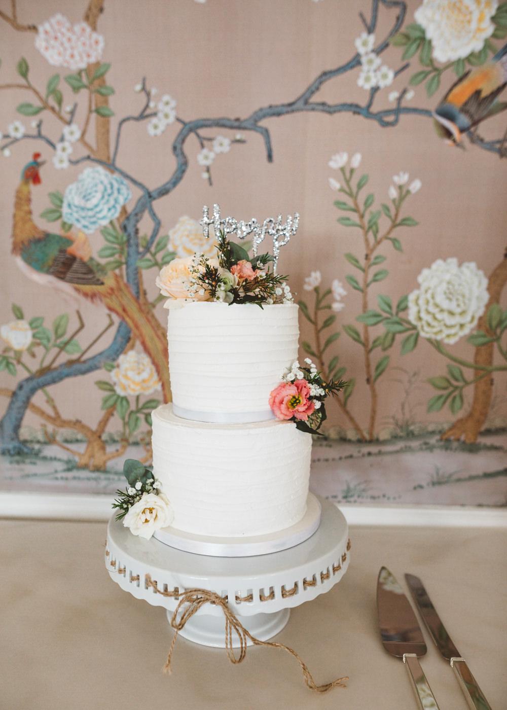 Rustic White Buttercream Cake Flowers George Rye Wedding Hollie Carlin Photography