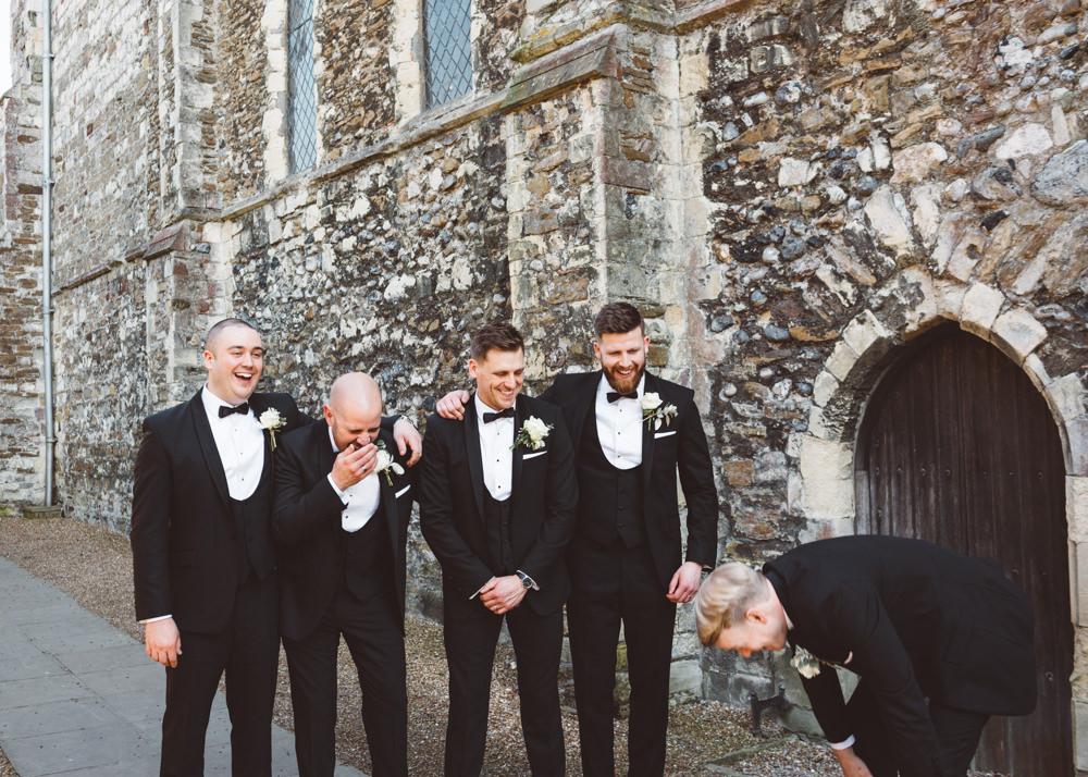 Dinner Suits Tuxedos Bow Tie Groom Groomsmen George Rye Wedding Hollie Carlin Photography