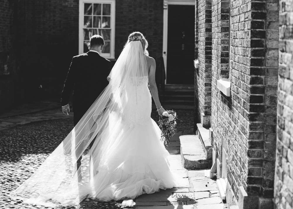 Fit Flare Dress Gown Bride Bridal Lace Tulle Strapless Veil Enzoani George Rye Wedding Hollie Carlin Photography