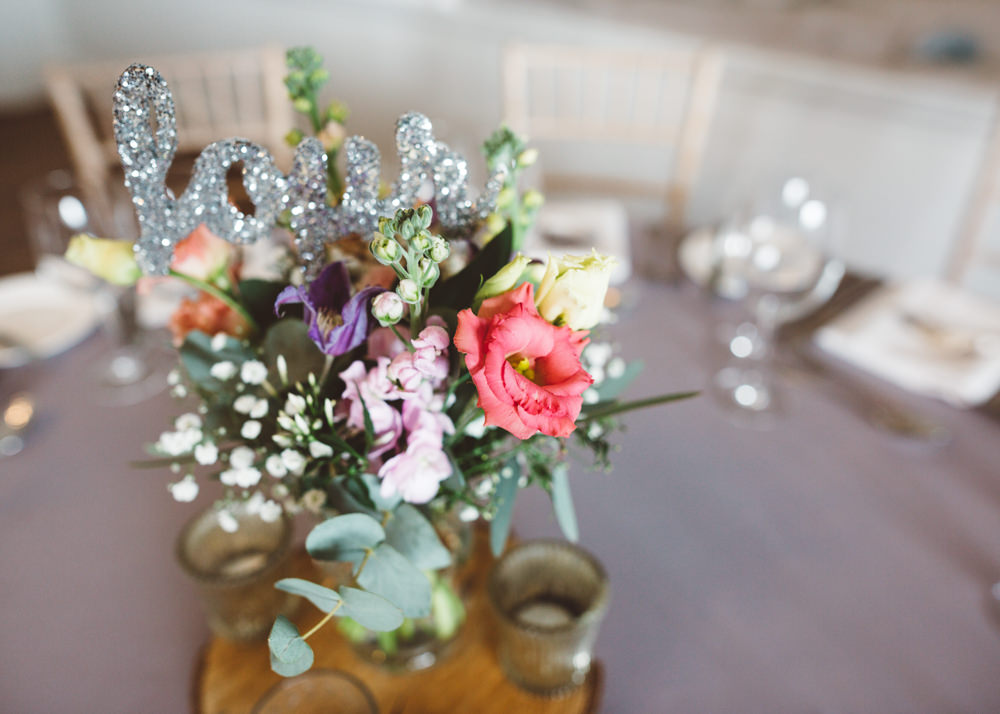 Flowers Glitter Table Number Fresia Stocks Centrepiece George Rye Wedding Hollie Carlin Photography