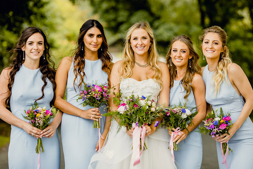 Bride Bridal Sweetheart Neckline A Line Layered Tulle Pale Blue Halter Neck Bridesmaids Dress Gown Heaton House Farm Wedding Steven Rooney Photography