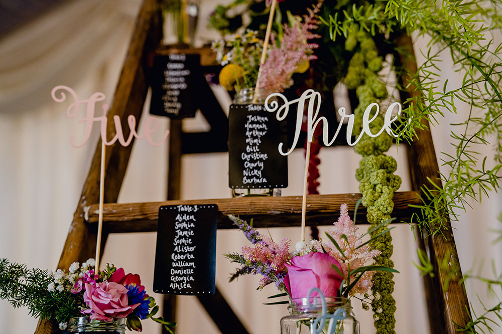 Table Plan Seating Chart Stepladder Laser Cut Numbers Blackboard Heaton House Farm Wedding Steven Rooney Photography