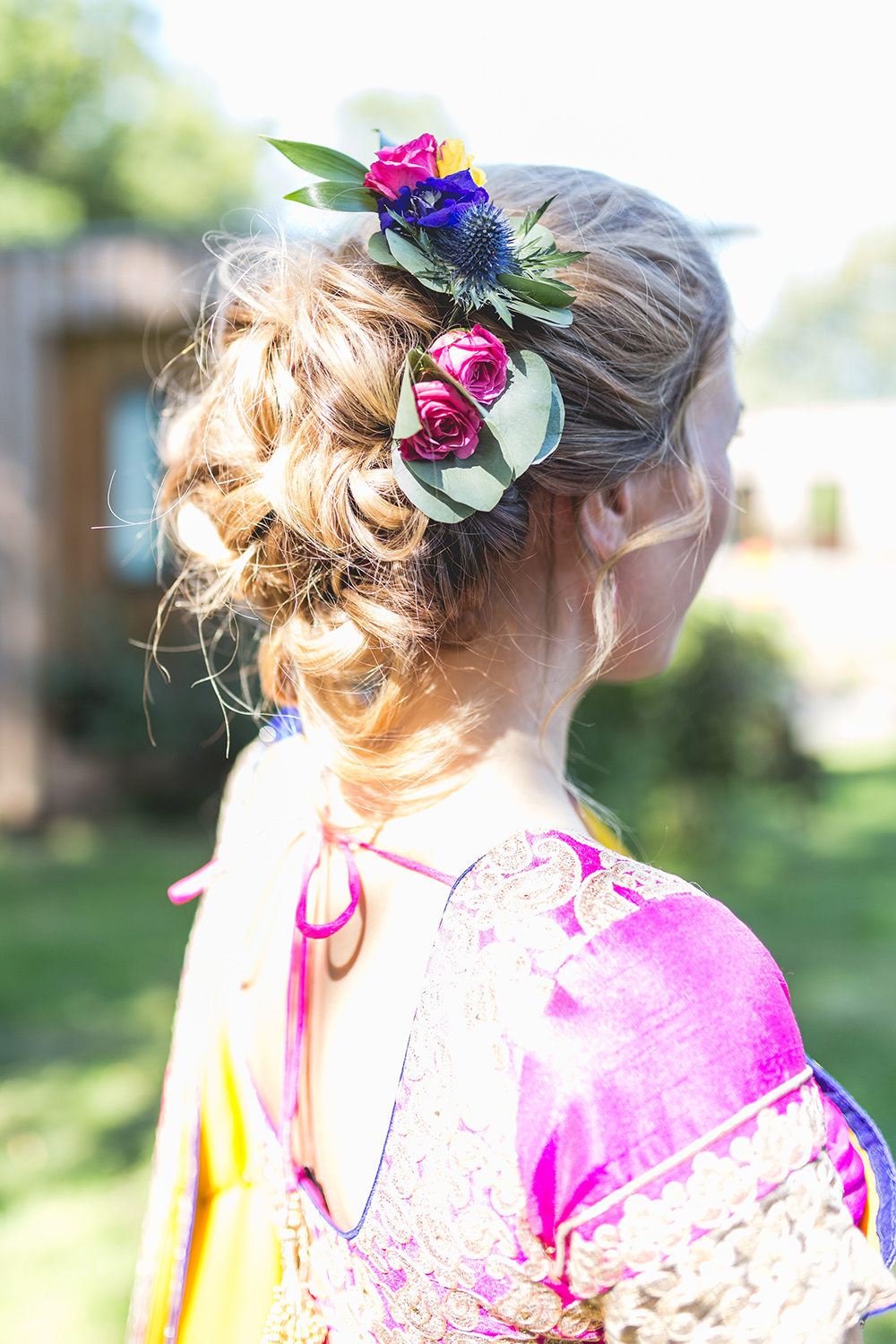 Bridesmaid Hair Style Up Do Flowers Hothorpe Hall Woodlands Wedding Lucy Long Photography