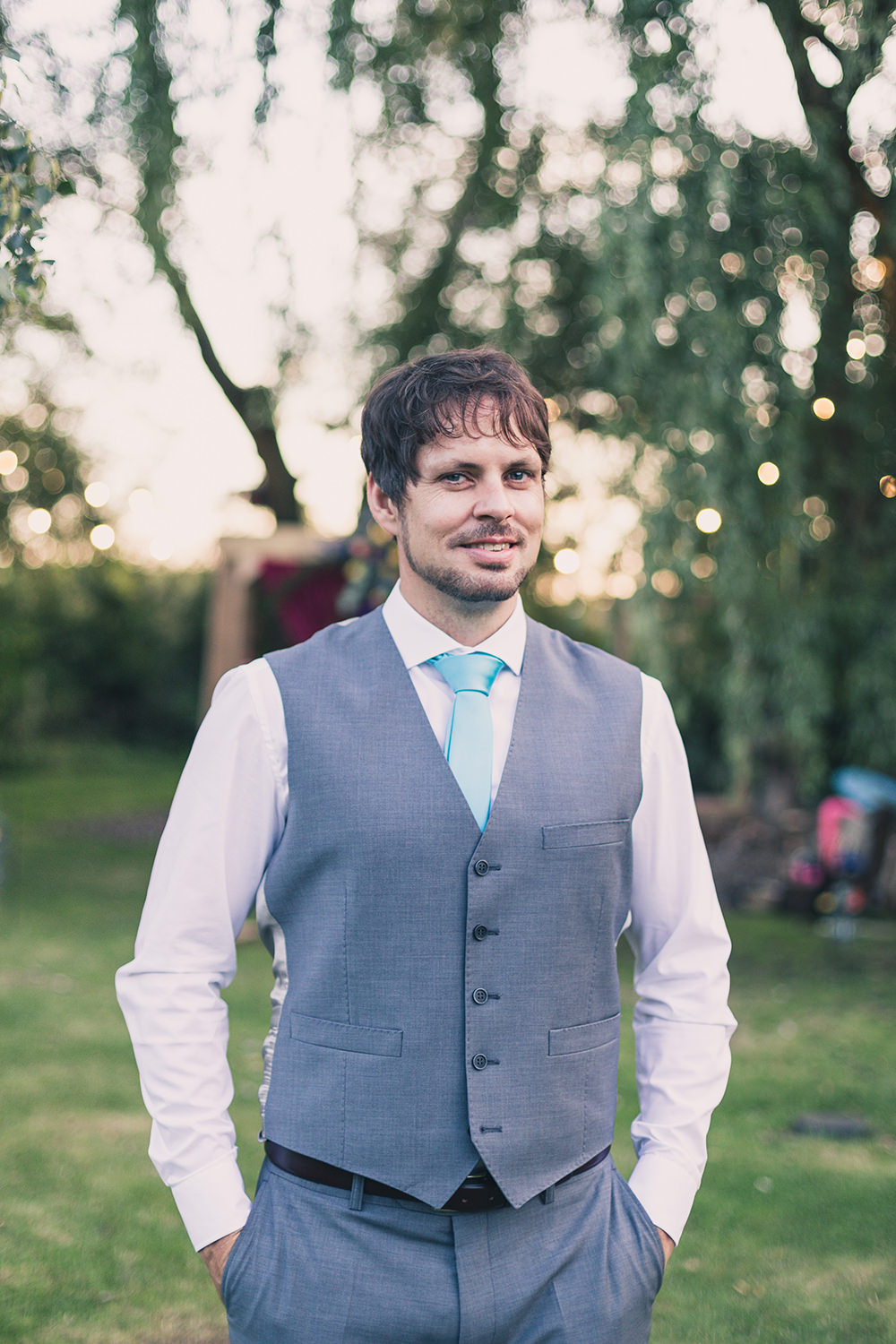 Groom Grey Waistcoat Blue Tie Hothorpe Hall Woodlands Wedding Lucy Long Photography
