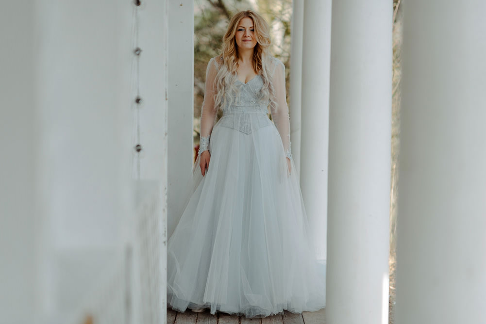 Forest Trees Castle Loch House Bride Blue Corset Bespoke Gown House Antlers | Intimate Winter Outdoor Scotland Wedding Christopher Ian Photography