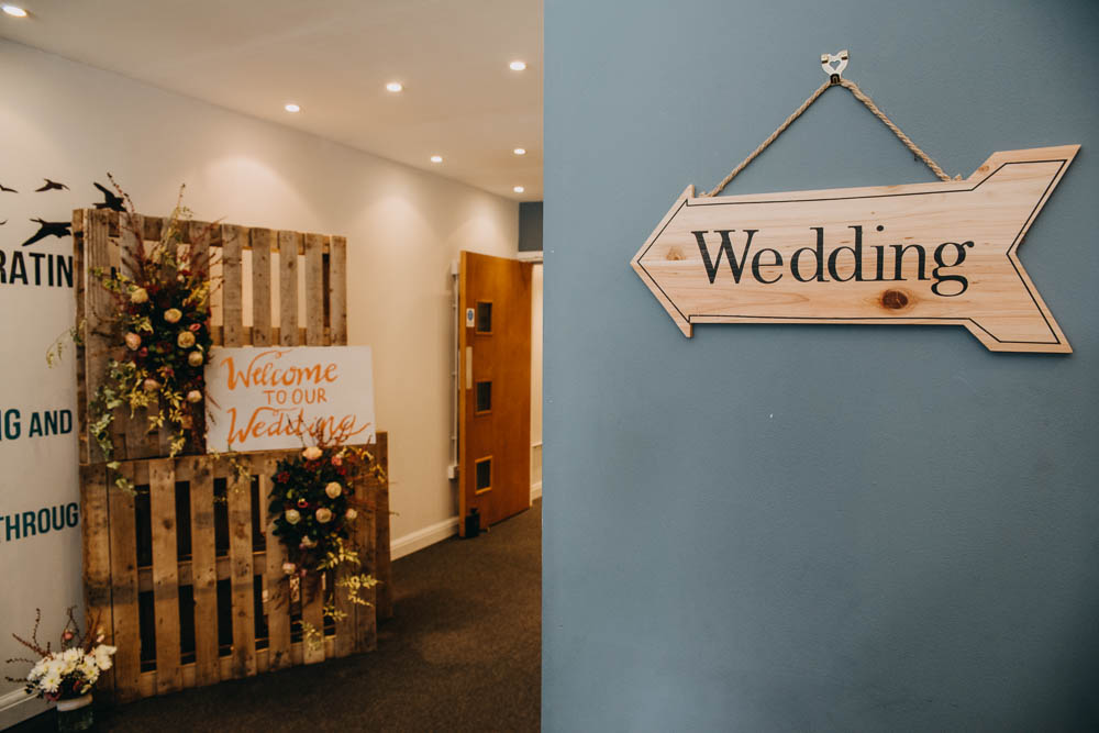 Pallet Welcome Sign Floral Wooden Arrow Signpost Railway Barn Wedding Lottie Photography