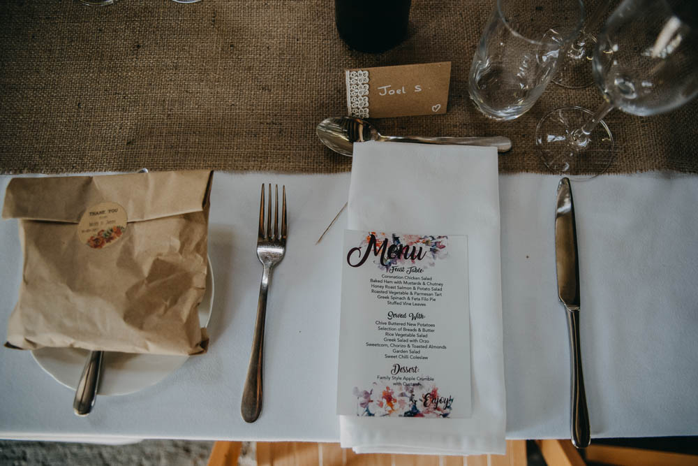 Table Setting Favours Paper Bag Menu Modern Calligraphy Hessian Runner Railway Barn Wedding Lottie Photography