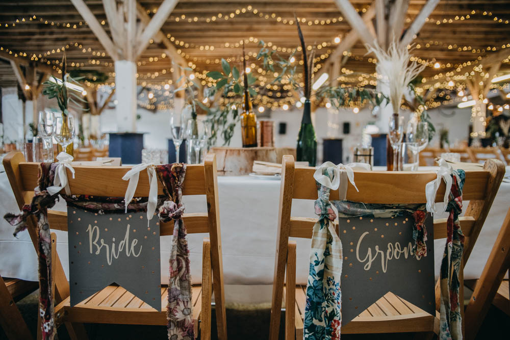 Fairy Lights Bride Groom Pennant Sign Ribbon Seat Back Railway Barn Wedding Lottie Photography