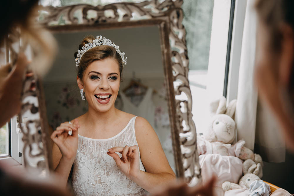 Bride Bridal Lace Dress Gown Train Tiara Sequin Embellished Earrings Railway Barn Wedding Lottie Photography