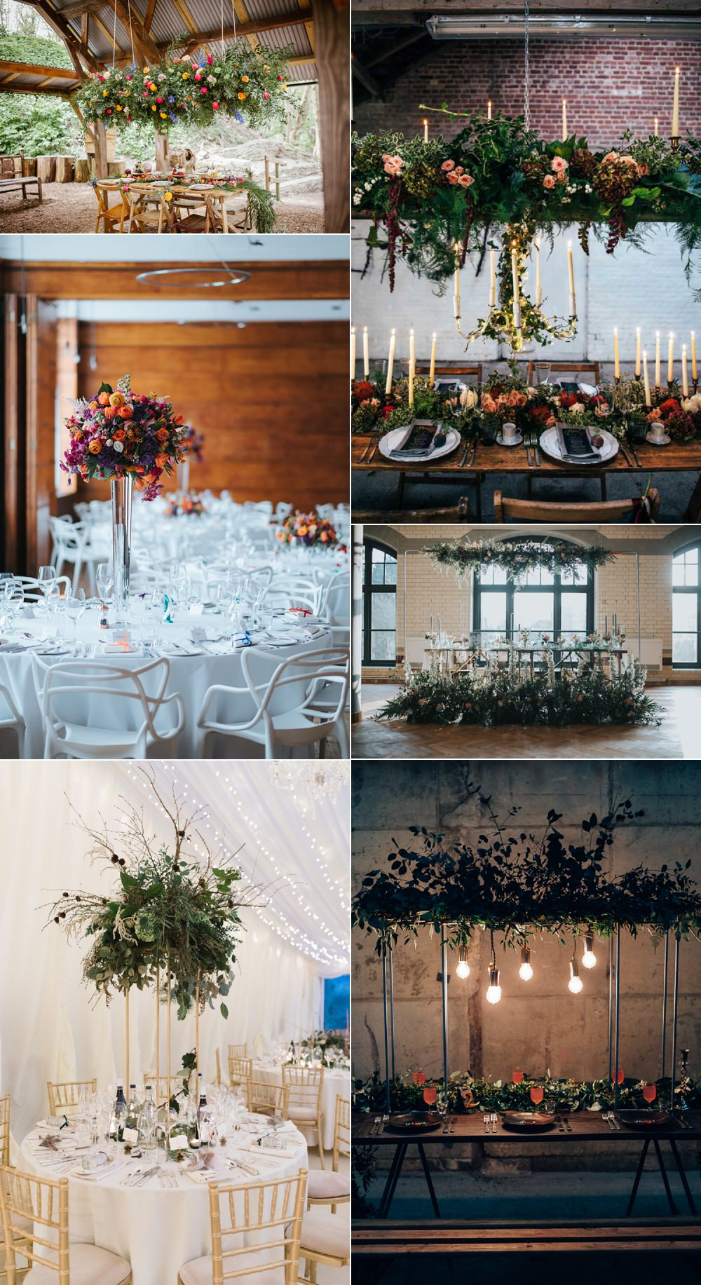 Table Centrepieces Suspended Hanging Floral Flower Ideas Wedding Inspiration