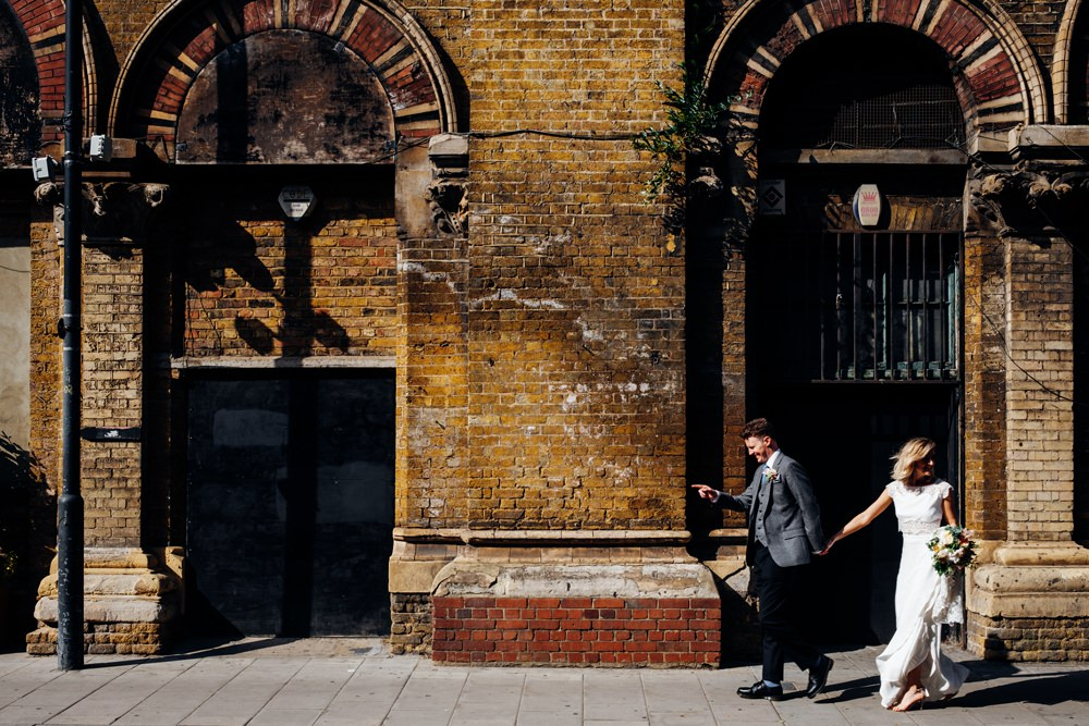 Bride Bridal Rime Arodaky Two Piece Crop Top Lace Top Skirt Peach Yellow Bouquet Reiss Groom Tanner Warehouse Wedding Marianne Chua Photography