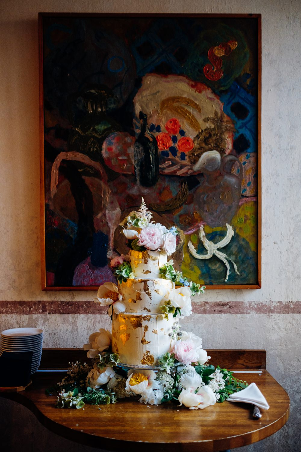 Cake Buttercream Tiered Gold Leaf Peonies Tanner Warehouse Wedding Marianne Chua Photography