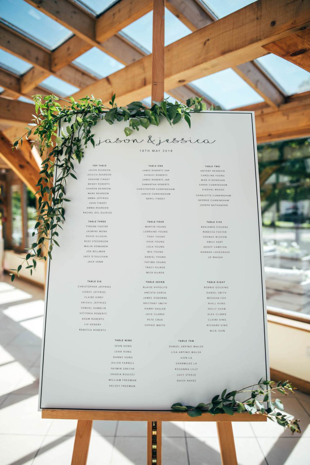 Modern Calligraphy Sign Welcome Greenery Seating Plan Table Chart Warm Welcoming Wedding Three Flowers Photography