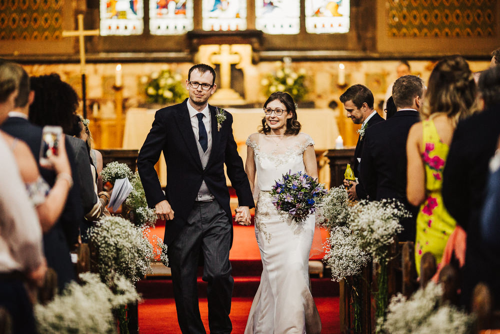 Bride Bridal Enzoani Fitted Wedding Dress Embellished Cap Sleeve Gypsophila Groom Tails Bouquet Gypsophila Pew Ends Whimsical Countryside Sperry Tent Wedding Emilie May Photography