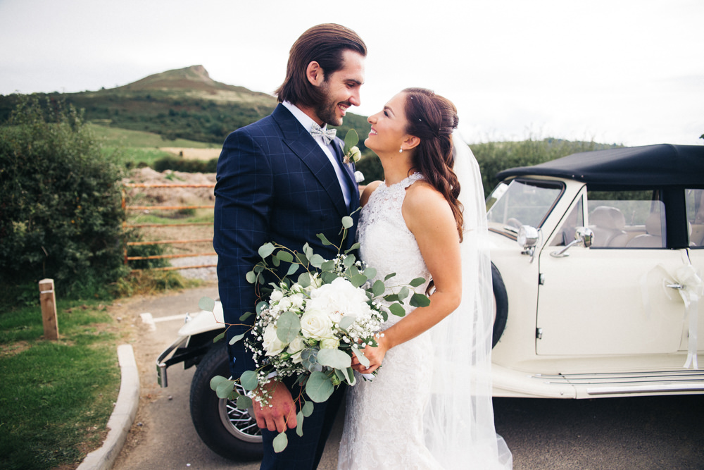 Classic Vintage Car Transport Wray's Barn Whinstone View Wedding Sally T Photography