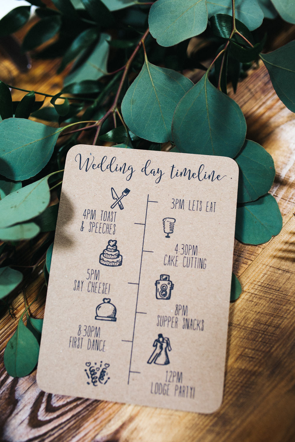 Kraft Brown Paper Stationery Invite Invitation Greenery Twine Timeline Wray's Barn Whinstone View Wedding Sally T Photography