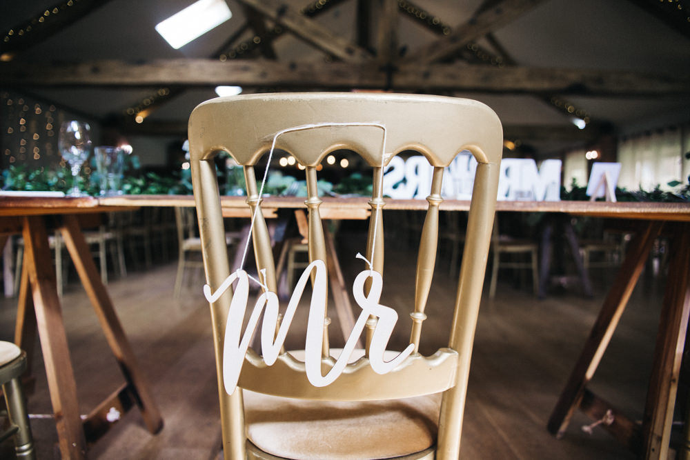 Chair Signs Mr Wray's Barn Whinstone View Wedding Sally T Photography