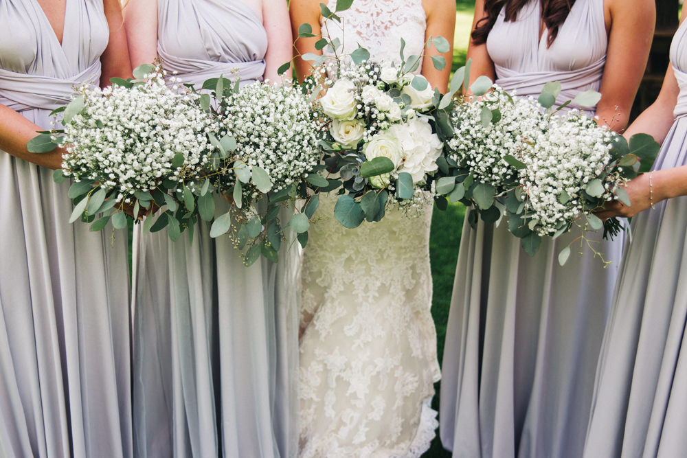 Bouquets Flowers Bride Bridal Bridesmaid Gypsophila Rose Greenery Wray's Barn Whinstone View Wedding Sally T Photography