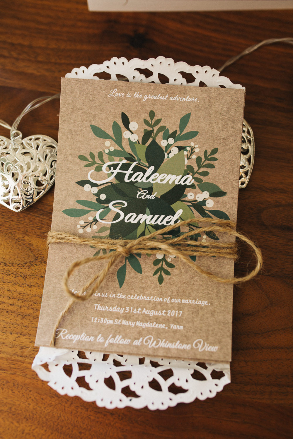 Kraft Brown Paper Stationery Invite Invitation Greenery Twine Doily Wray's Barn Whinstone View Wedding Sally T Photography