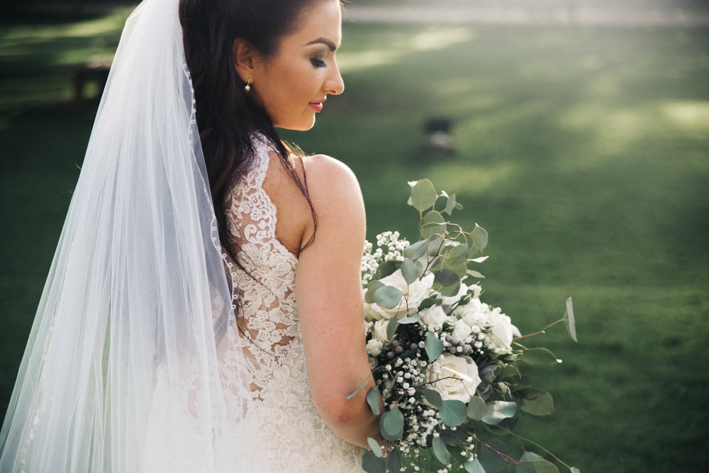 Lace Dress Train Fit Flare Button Bride Bridal Gown Veil Halterneck Wray's Barn Whinstone View Wedding Sally T Photography