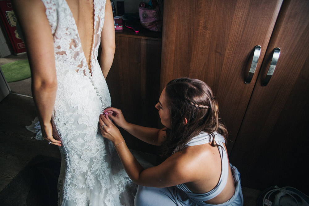 Lace Dress Train Fit Flare Button Bride Bridal Gown Wray's Barn Whinstone View Wedding Sally T Photography