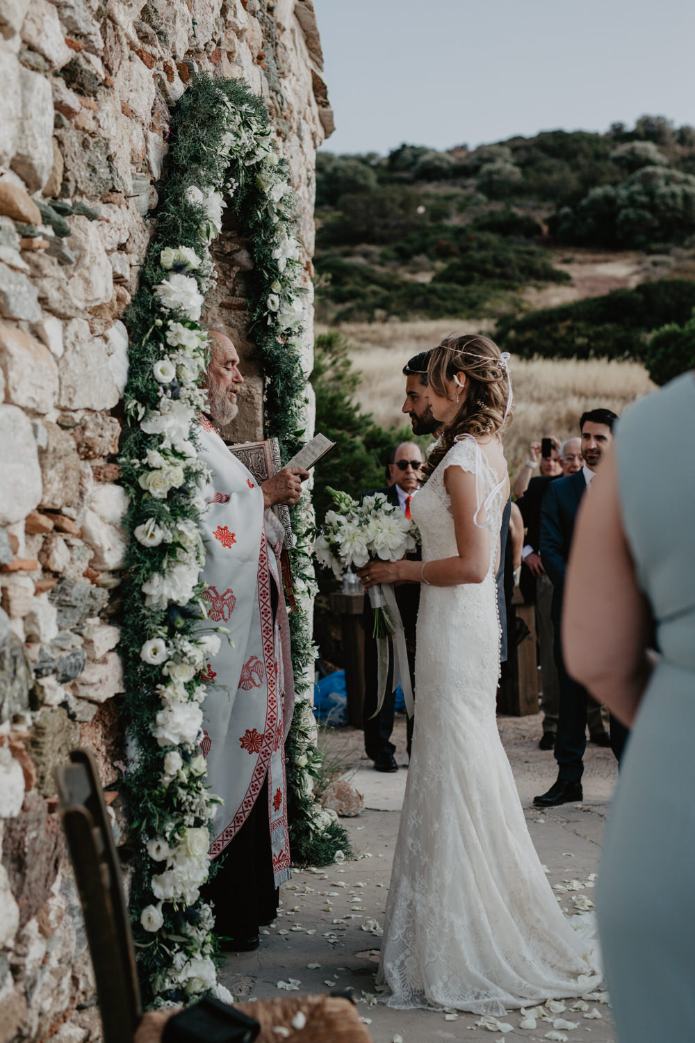 Church Floral Greenery Arch Bride Bridal Fishtail Lace Cap Sleeve Sweetheart Dress Gown Greece Destination Wedding Elena Popa Photography