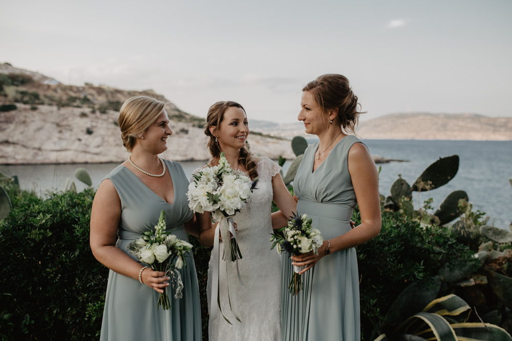 Bride Bridal Fishtail Lace Cap Sleeve Sweetheart Dress Gown Bouquet ASOS Sage Green Bridesmaids Greece Destination Wedding Elena Popa Photography