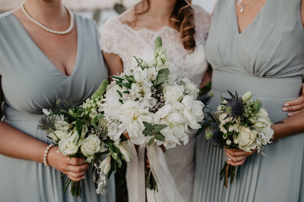 Bride Bridal Bridesmaids Bouquet White Sea Holly Rose Greece Destination Wedding Elena Popa Photography
