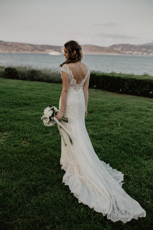 Bride Bridal Fishtail Lace Cap Sleeve Low V Back Dress Gown Bouquet Greece Destination Wedding Elena Popa Photography