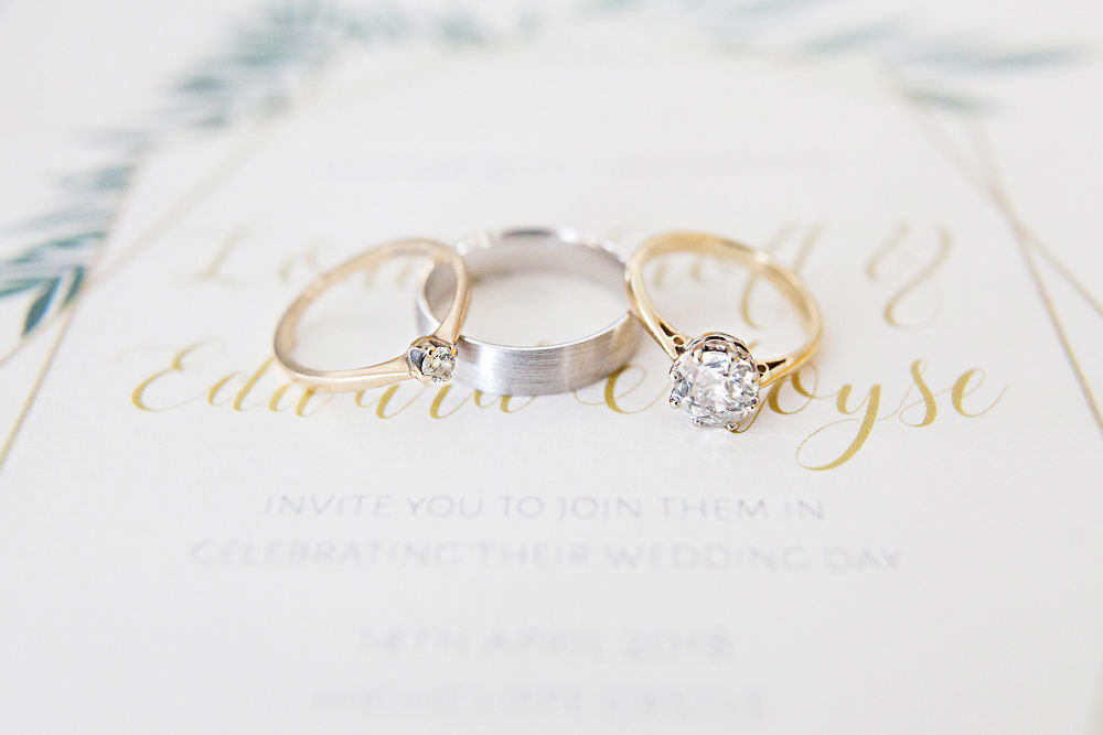 Rings Bands Gold Diamond Engagement Highcliffe Castle Wedding Bowtie and Belle Photography