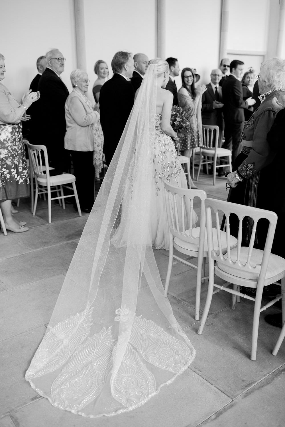 Glitter Embellished Detailed Long Veil Bride Bridal Highcliffe Castle Wedding Bowtie and Belle Photography