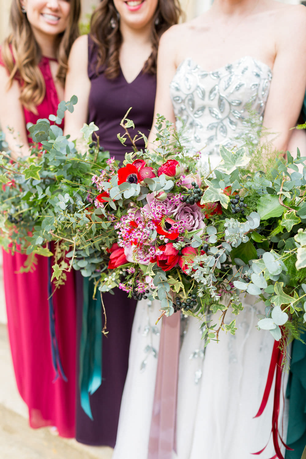 Bouquets Bride Bridal Bridesmaid Greenery Foliage Red Pink Rose Poppy Tulip Highcliffe Castle Wedding Bowtie and Belle Photography