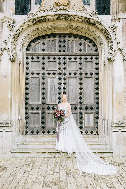 Vintage Couture Dress Gown Bride Bridal Paris Strapless Sequin Embellished Veil Highcliffe Castle Wedding Bowtie and Belle Photography