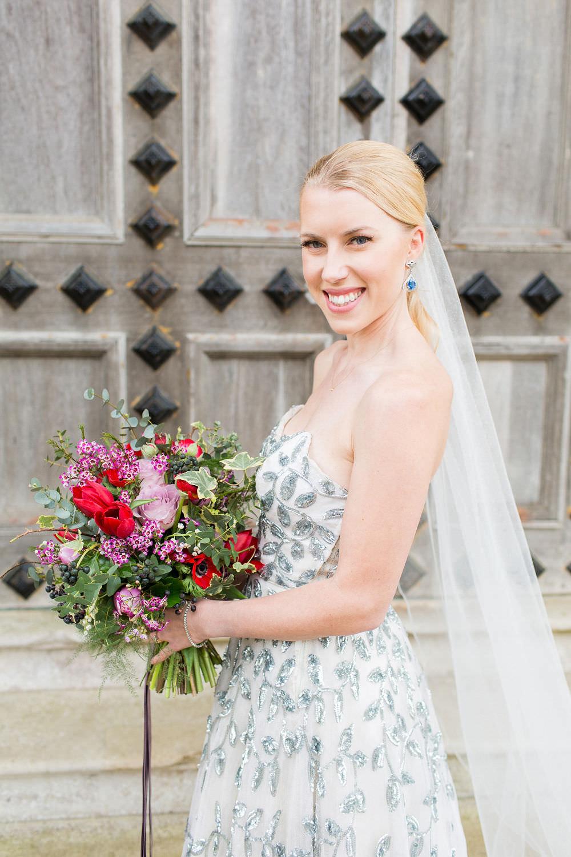Vintage Couture Dress Gown Bride Bridal Paris Strapless Sequin Silver Embellished Veil Highcliffe Castle Wedding Bowtie and Belle Photography