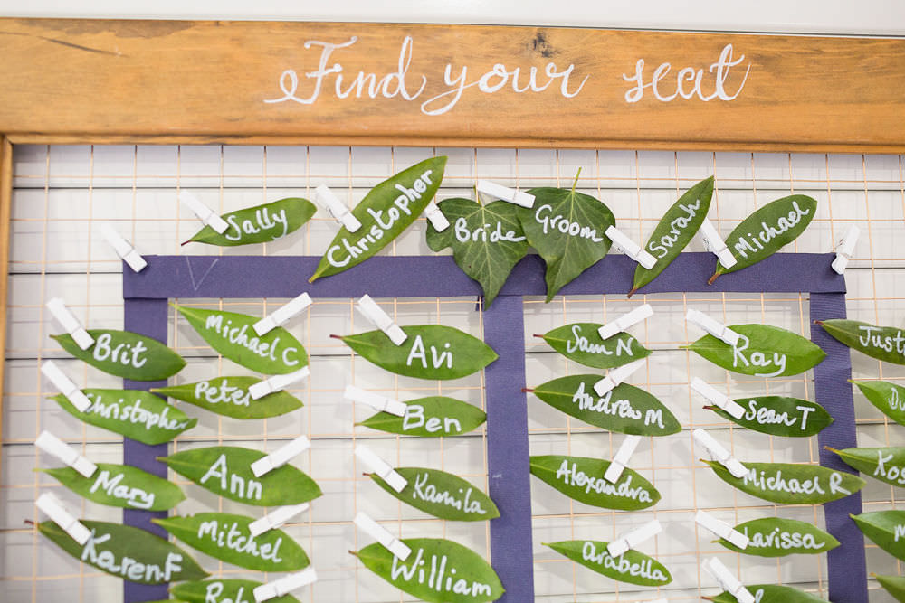 Table Plan Seating Chart Escort Cards Leaves Leaf Pegs Highcliffe Castle Wedding Bowtie and Belle Photography