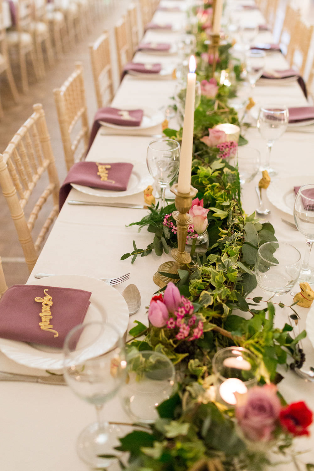 Marquee Foliage Greenery Runner Swag Table Pink Flowers Candles Napkins Place Setting Names Highcliffe Castle Wedding Bowtie and Belle Photography