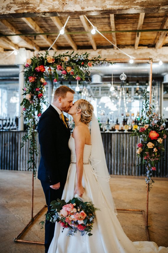 Backdrop Frame Flowers Candles Ceremony Arch Holmes Mill Wedding Emilie May Photography