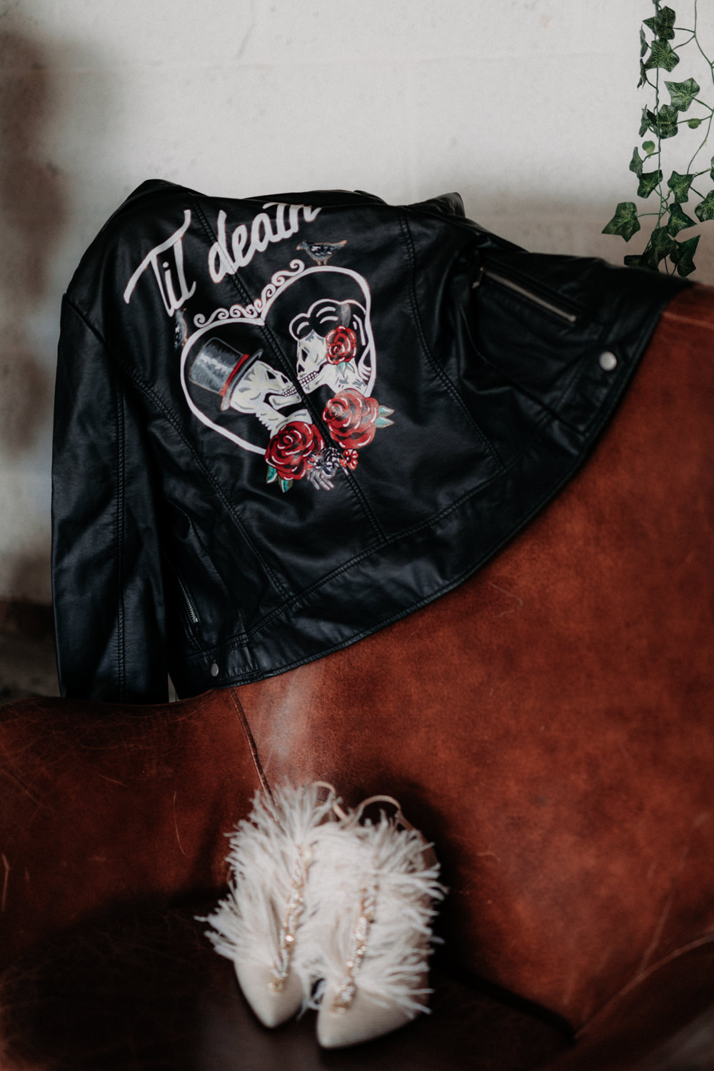 Leather Jacket Accessory Bride Bridal Painted Personalised Illustrated Industrial Luxe Wedding Ideas Balloon Installation Ayelle Photography