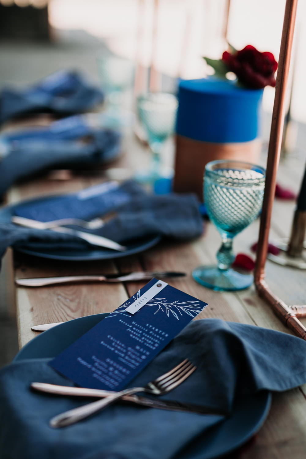 Linen Napkins Navy Blue Stationery Menu Place Setting Copper Industrial Luxe Wedding Ideas Balloon Installation Ayelle Photography