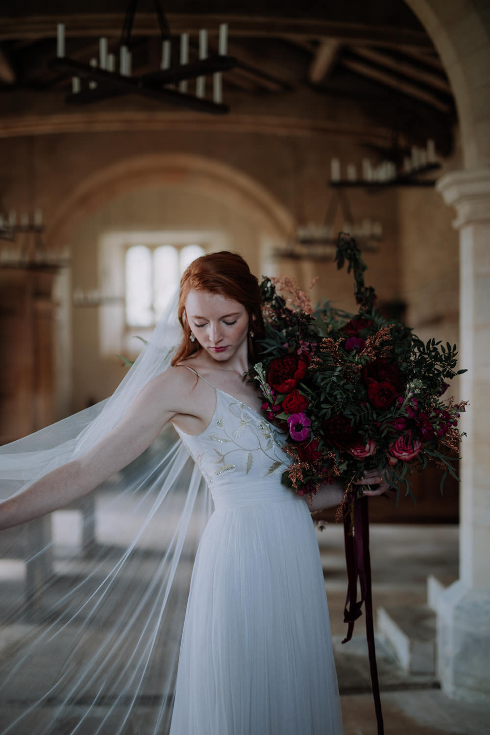 Bride Bridal Dress Gown Veil Silk Tulle Emellished Floral Industrial Luxe Wedding Ideas Balloon Installation Ayelle Photography