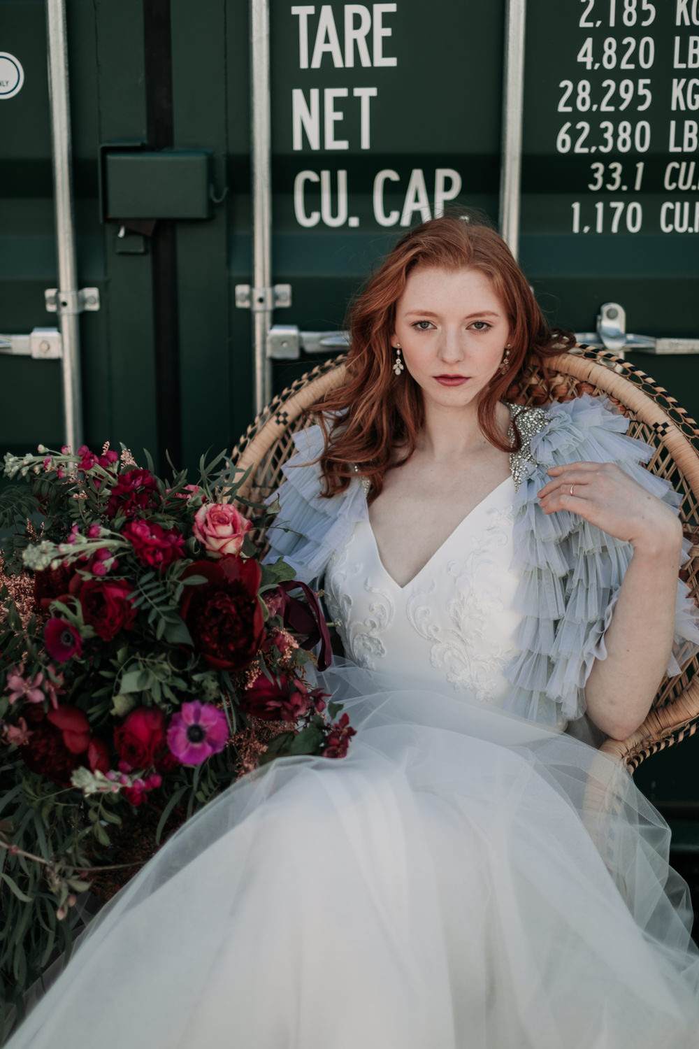 Bride Bridal Dress Gown Two Piece Seperates Skirt Top Tulle Ruffle Cover Up Jacket Grey Industrial Luxe Wedding Ideas Balloon Installation Ayelle Photography