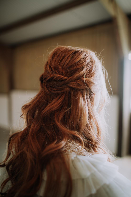 Hair Bride Bridal Style Half Up Do Braids Plaits Industrial Luxe Wedding Ideas Balloon Installation Ayelle Photography