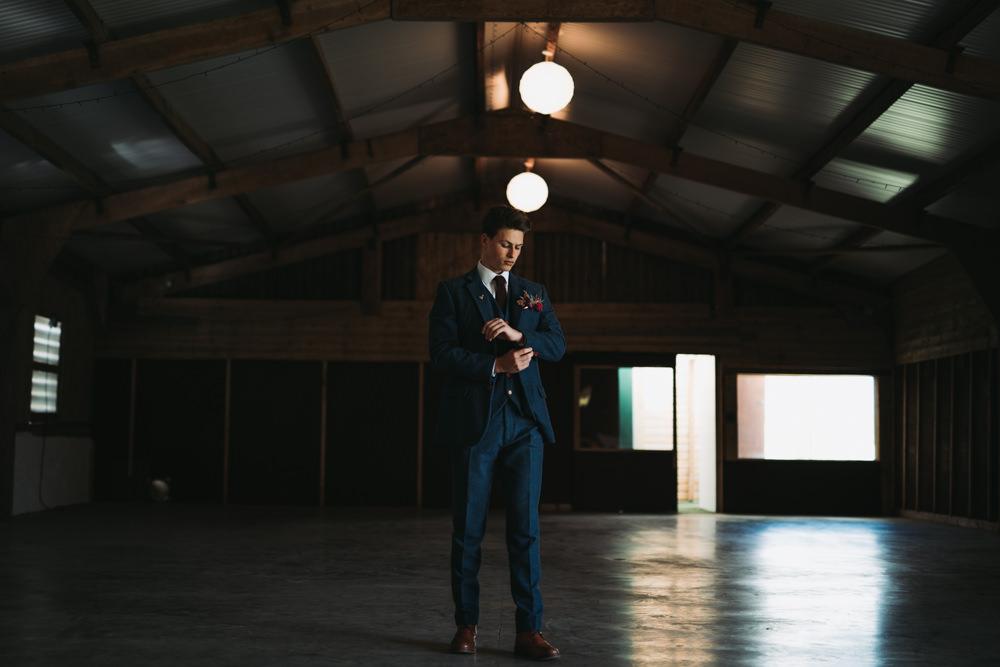 Groom Suit Style Navy Three Piece Burgundy Tie Pin Industrial Luxe Wedding Ideas Balloon Installation Ayelle Photography