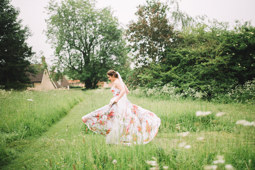 Bride Bridal Dress Gown Floral Flowers Print Pink Strapless Sweetheart Veil Irnham Hall Wedding Lucie Watson Photography