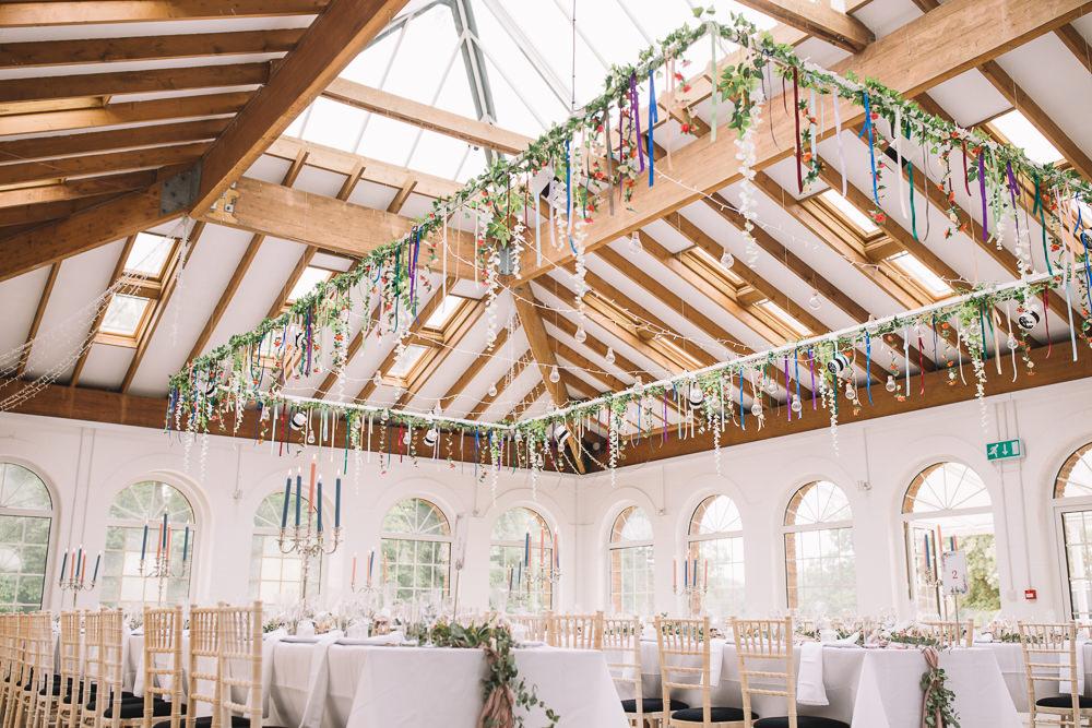 Suspended Hanging Floral Flowers Installation Reception Venue Decor Irnham Hall Wedding Lucie Watson Photography