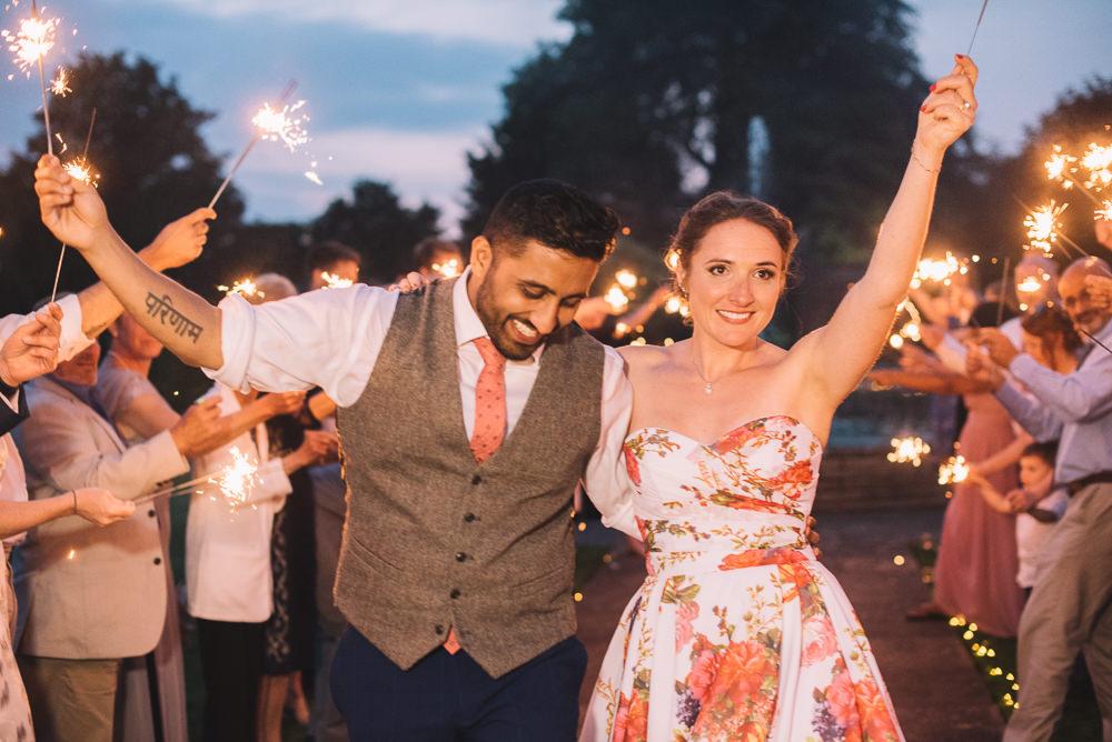 Sparkler Send Off Exit Evening Irnham Hall Wedding Lucie Watson Photography